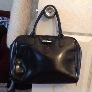 LONGCHAMP BLACK SATCHEL DOCTOR BAG PURSE, GORGEOUS